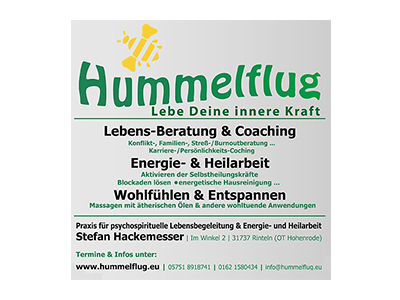 Sponsor: Hummelflug - Lebe Deine innere Kraft - Lebensberatung und Coaching