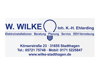 Sponsor: W. Wilke, Inh. K.-H. Ehlerding, Elektroinstallationen, Stadthagen