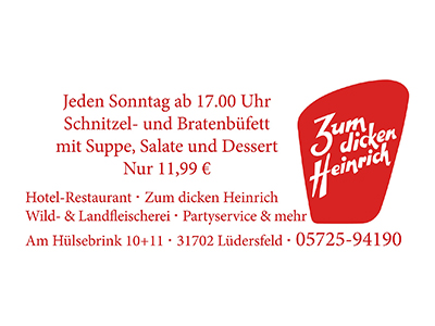 Sponsor: Zum dicken Heinrich, Hotel-Restaurant, Lüdersfeld